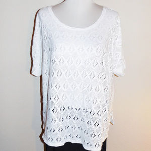 2X Old Navy White Lacey Short Sleeve Stretch Top
